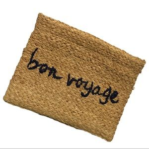 "Buji Baja Embroidered ""Bon Voyage"" Straw Clutch"